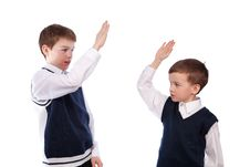 Free Portrait Of Two Brothers In School Uniform Stock Photos - 19385003