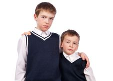 Free Portrait Of Two Brothers In School Uniform Stock Photos - 19385013