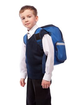 Free Portrait Of  Schoolboy With  Briefcase Stock Photography - 19385022