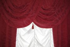 Free Red Curtain On White Stock Photography - 19385892