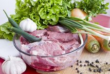 Beef Meat On Table And Vegetables Royalty Free Stock Images
