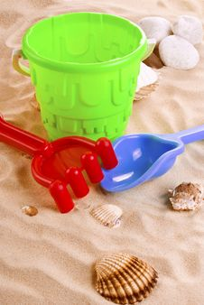 Free Children S Toys On The Beach Royalty Free Stock Photo - 19386345