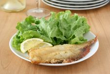 Free Fried Red-fish With Salad Stock Images - 19386394