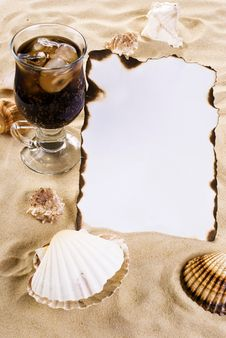 Free Burned Paper With Shells And Drink Stock Photos - 19386413