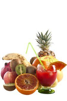 Orange Juice And Mixed Fruit Royalty Free Stock Photos