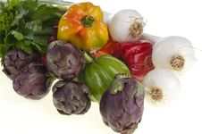 Free Small Exotic Peppers And Artichokes Stock Images - 19386794