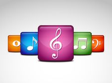 Free Musical Note Icons Royalty Free Stock Image - 19387336