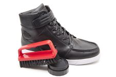 Shoe With Polish And Shoe Brush Royalty Free Stock Photos