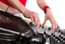 Free Hands Of Female DJ Playing Royalty Free Stock Photos - 19387648