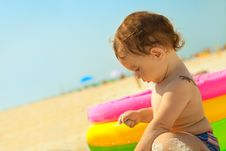 Free Little Girl On The Sand Beach Royalty Free Stock Photos - 19387778
