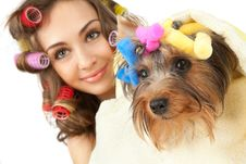 Free Female With Yorkshire Terrier Royalty Free Stock Photos - 19387798