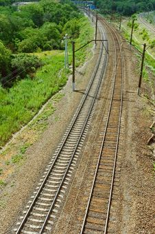 Free Landscape: Railroad Among Green Trees Stock Image - 19388881