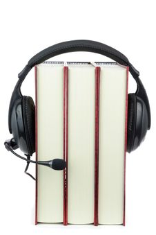 Free Three Books Wear Headphone Stock Photos - 19389623