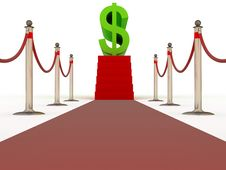 Red Carpet Walk With Steps To Sign Of Dollar Royalty Free Stock Images