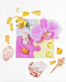 Free Soap And A Orchid Stock Photo - 19390680
