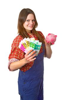 Free Craftswoman With Euro Banknotes Royalty Free Stock Image - 19390936