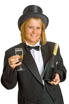 Woman With Sparkling Wine Stock Images