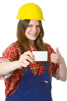 Free Young Friendly Craftswoman With Businesscard Stock Image - 19391341