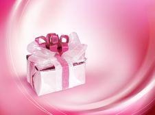 Single Gift Box With Pink Ribbon Royalty Free Stock Photo