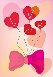A Pink Background With Hearts And A Bow Stock Image