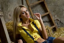 Free Beautiful  Woman On Hay Stock Images - 19393364