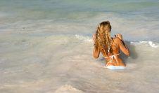 Free Beautiful Woman In Bikini Going In The Sea Stock Images - 19393964