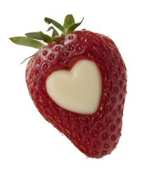 Free Single Strawberry With White Heart Stock Photos - 19394283
