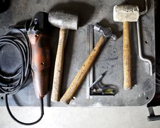 Old Dirty Hand Tools On A Workbench Royalty Free Stock Images