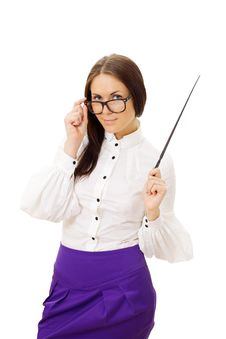 Woman Wearing Glasses Standing And Holding Pointer