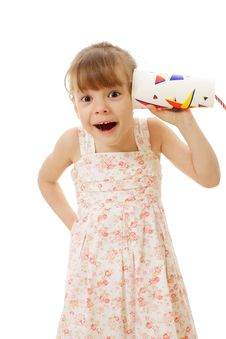 Free Surprised Little Girl Calling Toy Phone Royalty Free Stock Image - 19395926