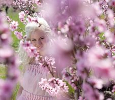 Free Young Pretty Blond Woman In Blooming Garden Stock Images - 19396254