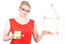 Free Young Woman With House Symbol And Piggy Bank Stock Photography - 19396512