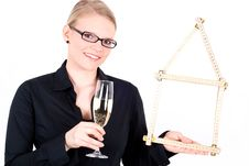 Free Young Woman With House Symbol And Champagne Glass Stock Photos - 19396553