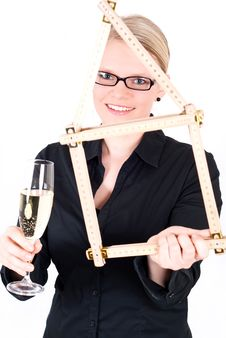 Free Young Woman With House Symbol And Champagne Glass Royalty Free Stock Image - 19396556