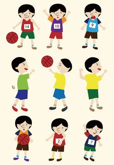 Free Cartoon Basketball Player Icon Set Royalty Free Stock Photo - 19396895