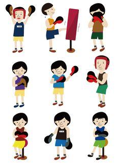 Free Cartoon Boxer Icon Set Stock Photography - 19396902