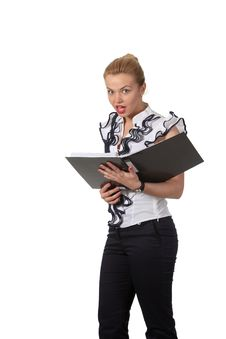 Free Businesswoman Read A Document In A Folder Stock Photography - 19396972