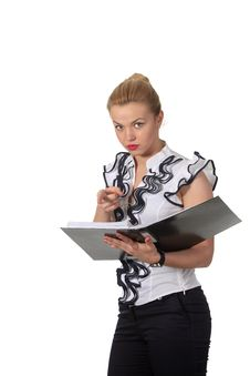 Free Businesswoman With A Folder Point You Stock Photos - 19396973