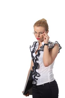 Free Strong Young Businesswoman Looks On You Royalty Free Stock Photos - 19396978