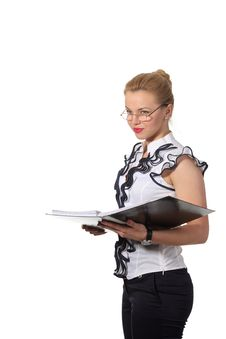 Free Businesswoman Read A Document In A Folder Royalty Free Stock Images - 19396979
