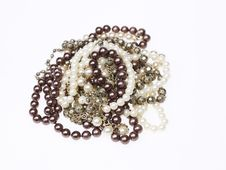 Pearl And Silver Necklaces Stock Photo