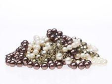 Pearl And Silver Necklaces Stock Image