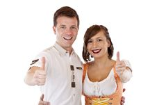 Free Bavarian Man And Woman Showing Thumbs Up Stock Image - 19397311