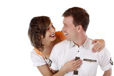 Free Bavarian Couple In Love Looks At Each Other Royalty Free Stock Images - 19397329