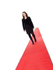 Free Smiling Girl Walking On Red Carpet Royalty Free Stock Images - 19397539