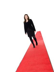 Free Smiling Girl Walking On Red Carpet Royalty Free Stock Photo - 19397545