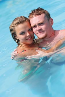 Free A Girl And Man Is In Blue Water Royalty Free Stock Image - 19398366