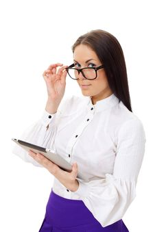 Free Woman Wearing Glasses Holding Tablet PC Stock Image - 19399621