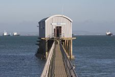 Free Lifeboat Station With Sea & Boats Stock Photography - 1942662