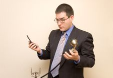 Free Business Man With Two Phones Royalty Free Stock Photos - 1943258